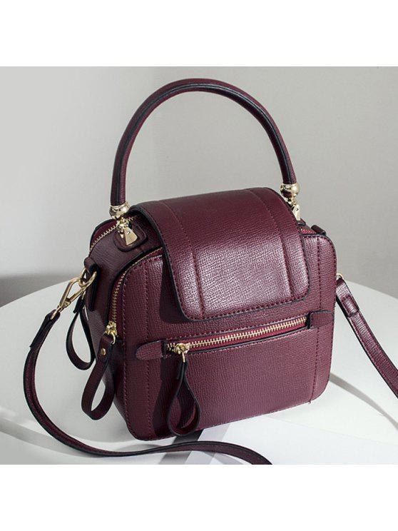 حقيبة اليد بجلد اصطناعي بسحاب - نبيذ أحمر