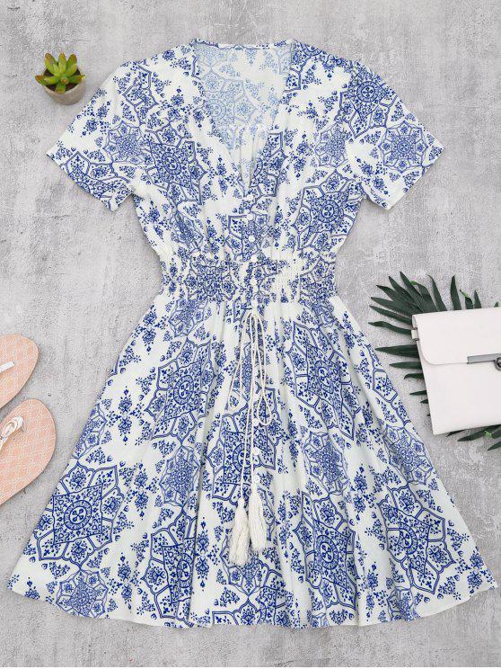 Robe A Line Imprimée Taille Smockée à Boutons - Bleu et Blanc M