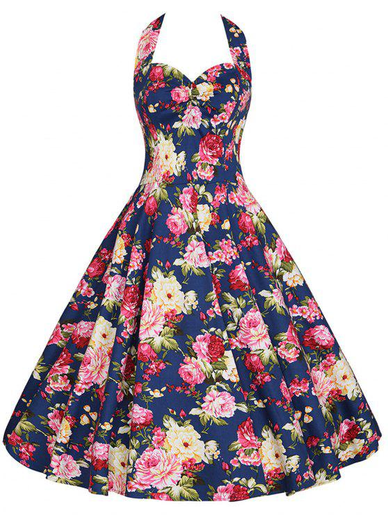 35a248c36d2a9 29% OFF] 2019 Floral Plus Size Halter Vintage Dress In BLUE | ZAFUL