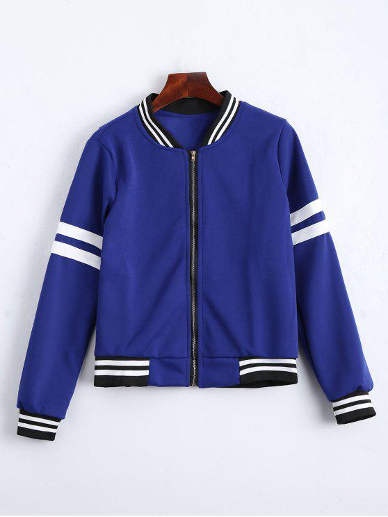 trendy Zip Up Striped Jacket - BLUE XL