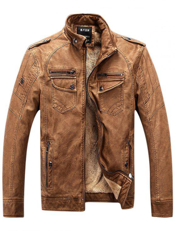 Epaulet Zip Up Taschen Fleece PU Lederjacke - Braun 3XL
