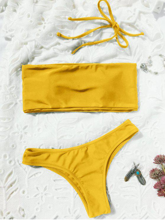 outfits High Cut Bandeau Thong Bathing Suit - YELLOW M