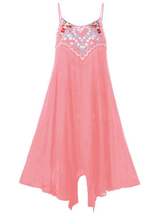 fceace5c46e 31% OFF  2019 Plus Size Embroidery Slip Summer Dress In PINK