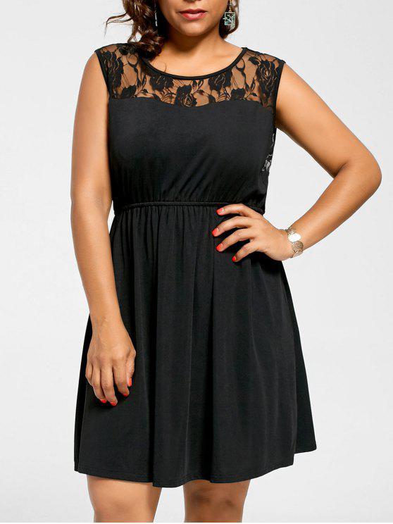 Plus Size Lace Yoke Sleeveless Skater Dress BLACK BLUE PURPLE WINE RED