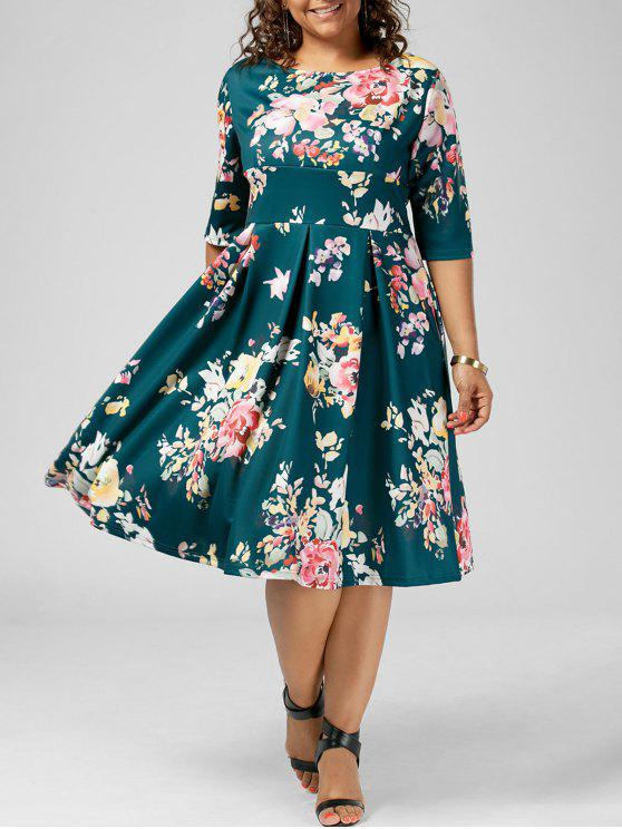 4701c84e7a 36% OFF  2019 Floral High Waisted A Line Plus Size Dress In MULTI ...