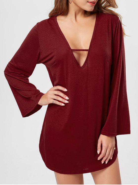 فستان تي شيرت طويلة الأكمام غارق الرقبة - نبيذ أحمر M
