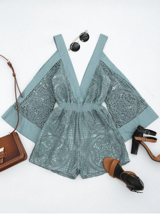 outfit Plunging Neck Cold Shoulder Hollow Out Romper - STONE BLUE L