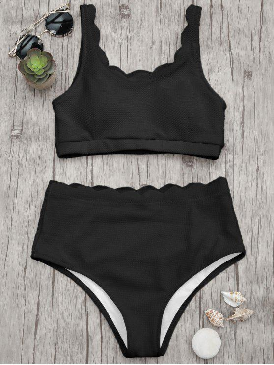 women Scalloped High Waisted Bralette Bikini Set - BLACK M