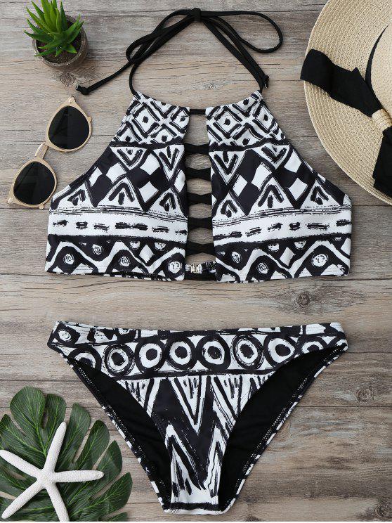 shop Criss Cross Halter Cropped Bikini Set - COLORMIX M