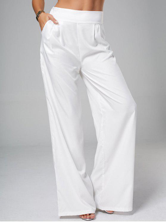pantalon palazzo long taille haute blanc pantalons 2xl zaful. Black Bedroom Furniture Sets. Home Design Ideas