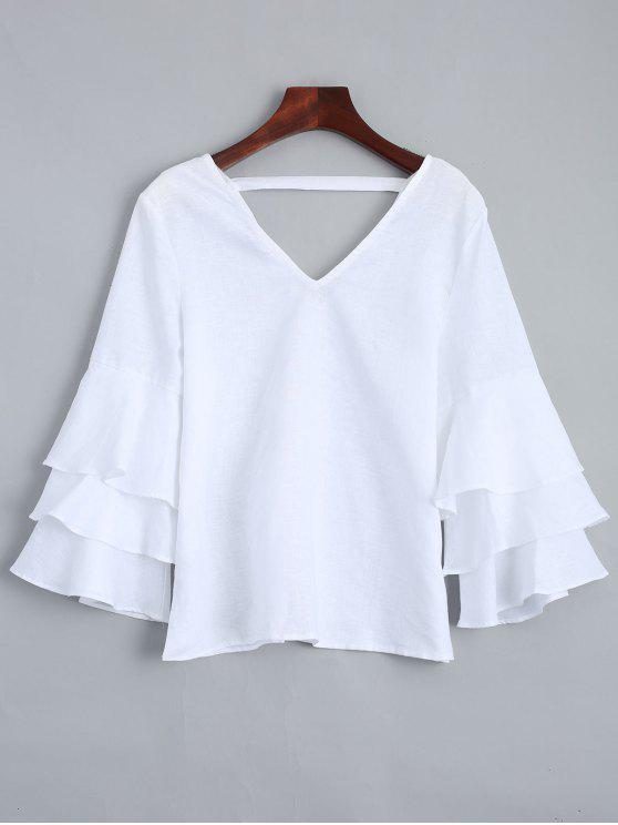 ladies Tiered Sleeve V Neck Linen Blouse - WHITE M