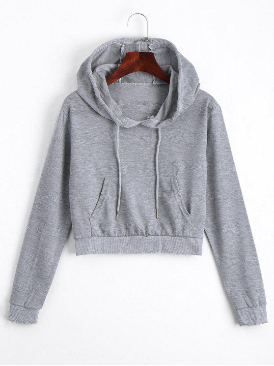 affordable Front Pocket Crop Hoodie - GRAY XL
