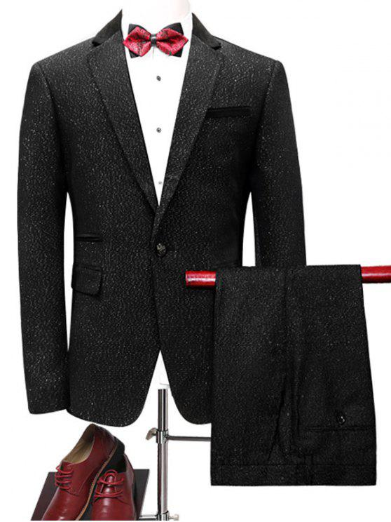 بدلة الملابس بليزر بزر واحد وبنطلون - أسود 3XL