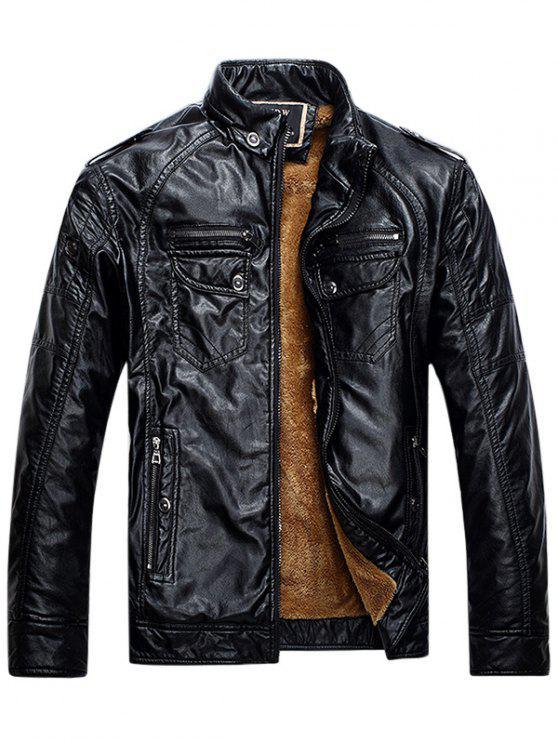 Epaulet Zip Up Taschen Fleece PU Lederjacke - Schwarz 2XL