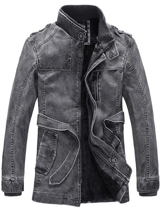 معطف بجلد اصطناعي صوف وقوف الرقبة مع حزام - أسود 3XL