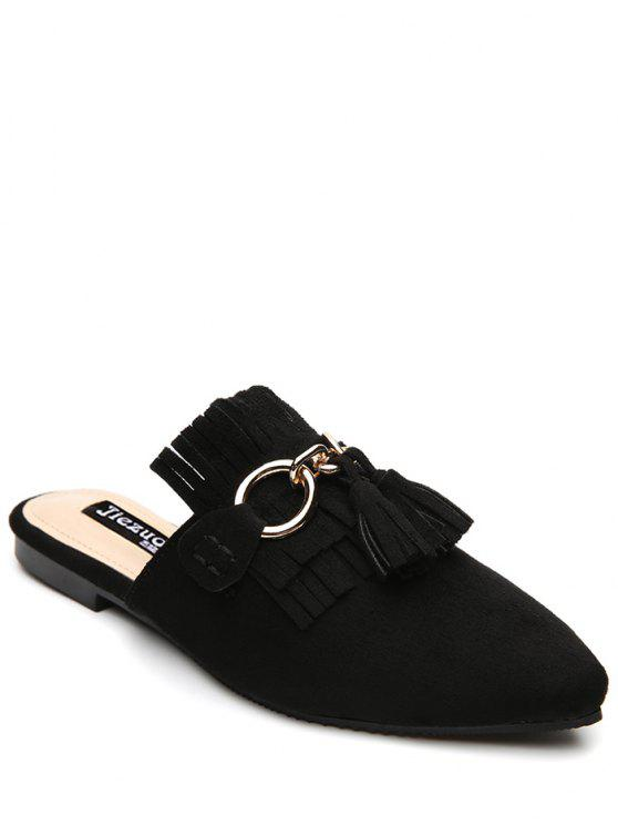 trendy Pointed Toe Flat Heel Tassels Slippers - BLACK 37