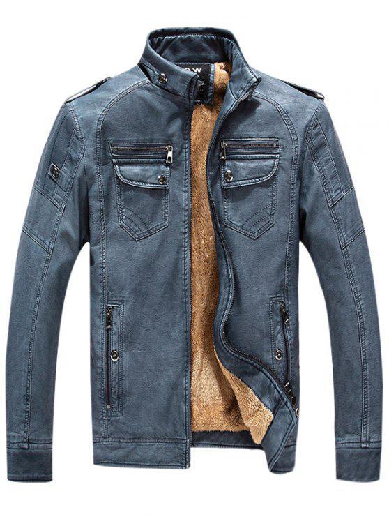 Epaulet Zip Up Taschen Fleece PU Lederjacke - Denim Blau 3XL