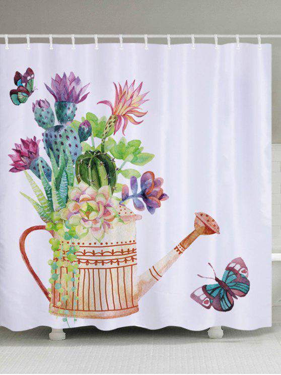2018 Succulents Watering Can Print Bathroom Shower Curtain In