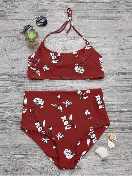 trendy Slimming Control High Waisted Bralette Bikini Set - RED S