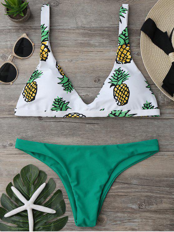 Ensemble Bikini Imprimé Ananas à Coupe Haute - Vert XL