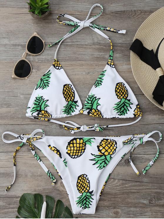 Ensemble Bikini Imprimé Ananas à Corde - Blanc S