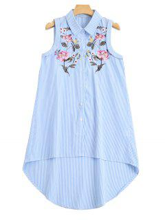 Sleeveless Stripes Embroidered High Low Shirt - Stripe L