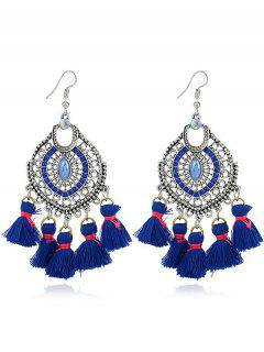 Tassels Pendant Dreamcatcher Shape Hook Earrings - Blue