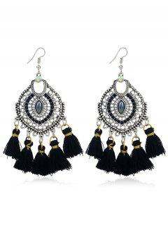 Tassels Pendant Dreamcatcher Shape Hook Earrings - Black