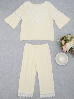 Loungewear Lace Crochet Panel Top With Capri Pants - Palomino Xl