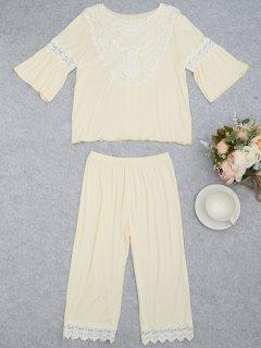 Loungewear Lace Crochet Panel Top With Capri Pants - Palomino L