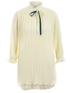 Plus Size Bow Tie Ruffles Dress - Light Yellow Xl