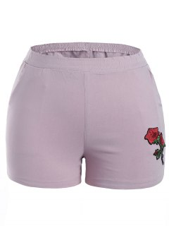 Casual Plus Size Floral Embroidered Shorts - Light Purple Xl