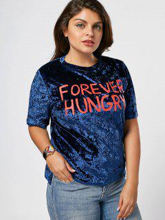 Letter Crushed Velvet Plus Size Top - Blue 5xl