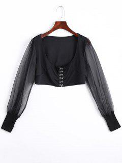 U Neck Organza Panel Crop Jacket - Black L