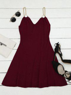 Ring Embellished Knitted Flare Dress - Wine Red