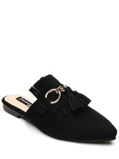 Pointed Toe Flat Heel Tassels Slippers - Black 38