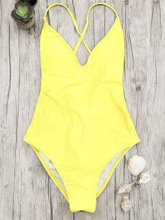 V-Ausschnitt  Einteiliger Badeanzug Mit Hoher Taille - Gelb S
