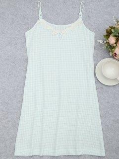 Cami Keyhole Striped Sleep Dress - White And Green M