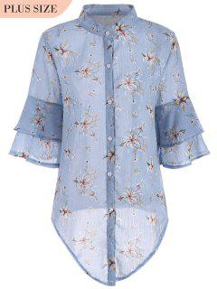 Flare Sleeve Floral Plus Size Blouse - Blue 2xl