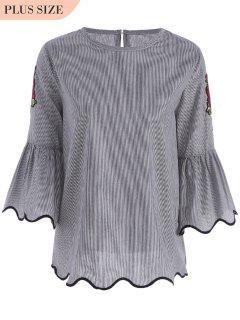 Patched Plus Size Stripes Blouse - Black 2xl