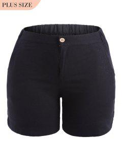 Plus Size High Waisted Embroidered Shorts - Black Xl