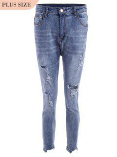 Skinny Plus Size Destroyed Pencil Jeans - Blue 3xl