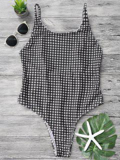 Open Back Gingham One Piece Swimsuit - White And Black S