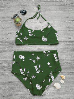 Slimming Control High Waisted Bralette Bikini Set - Green L