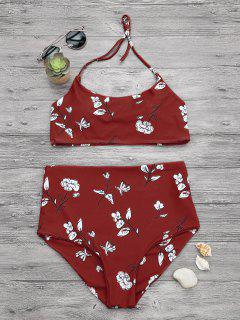 Slimming Control High Waisted Bralette Bikini Set - Red L