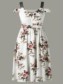 Plus Size Tiny Floral Cold Shoulder Dress - White Xl