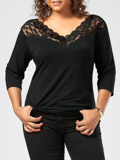 Lace Sheer Trim Plus Size T-shirt - Black 5xl