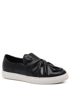 Bow Round Toe Faux Leather Flat Shoes - Black 40