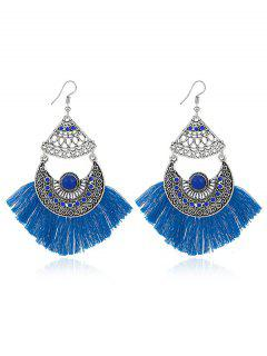 Rhinestone Moon Tassel Gypsy Hook Earrings - Blue