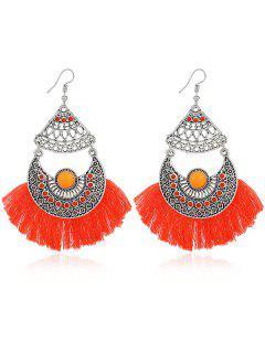 Rhinestone Moon Tassel Gypsy Hook Earrings - Orange